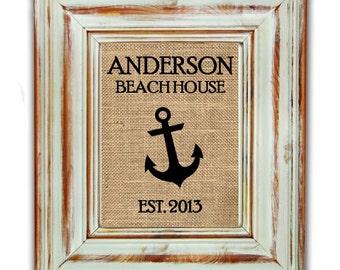 Anchor Burlap Print / Burlap Art Print / Burlap Print / Shabby Chic Home Decor / Housewarming Gift / Beach Art / Beach House Decor