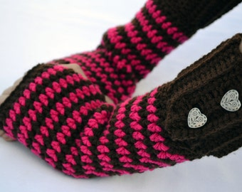 Chocolate strawberry fingerless gloves, arm warmers, texting gloves, crochet gloves, wrist warmers, hand warmers, mittens, warm gloves
