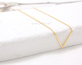 Small V Pendant Necklace, Chevron Charm Necklace