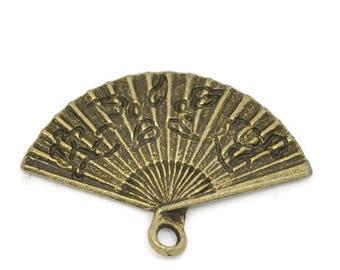 x 5 pendants/charm fan metal color bronze 24 x 17 mm