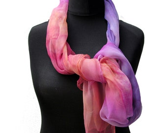 Hand dyed Silk Scarf 3.5 momme gauze Silk for Nuno Felting or wear as is Hand rolled edge 200 x 50cm SS5