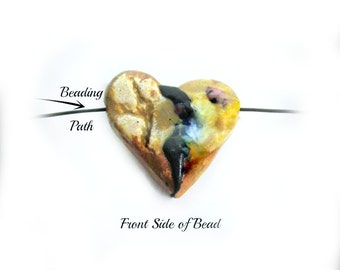 heart bead, clay heart bead,Heart bead for necklaces, necklace bead supply,   # 84
