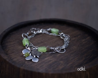 Raw Peridot and Baltic Amber Bracelet with Hand Hammered Sterling Silver Circles and Charms - Multi Strand Beaded Bracelet with Chain - odki