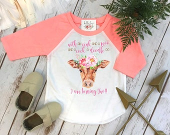 Second Birthday, With an Oink and a Moo, Farm Birthday, Oink Moo Turning Two, 2nd Birthday, Flower Cow, Boho Birthday, Girl Birthday SHIRT