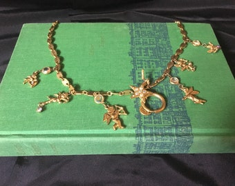 Vintage Kirks Folly Cherubs Charm Necklace, Gold Tone with AB Rhinestones, Kirks Folly Gold Tone Charm Necklace Fairies and Cherubs Necklace