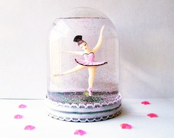 Made to Order Ballerina Snow Globe Pretty in Pink and Black