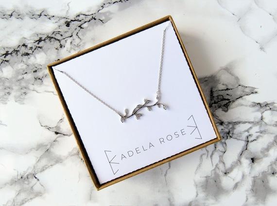 Dainty CZ Leaf Necklace, Dainty Vine Necklace, Pendant Necklace, Dainty Necklace, Dainty Jewelry, Everyday Jewelry, Simple Necklace, Boho