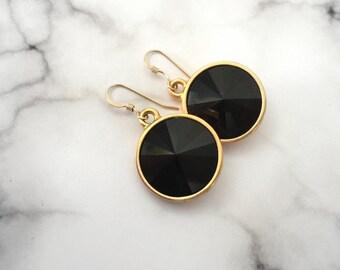 Women's Gold & Black Earrings, Jet Swarovski Jewelry, Large Black Dangle Earrings, Black Gold Round Earrings, Jet Dangles, Crystal Earrings