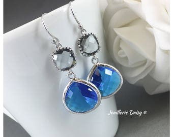 Royal Blue Earrings Blue and Grey Earrings Bridesmaid Gift Sapphire Maid of Honor Jewelry Mother of Groom Gift Mother of Bride Gift for Her