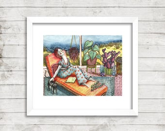 Lady Lounging Illustration, Art Print