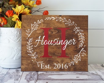 Last Name Sign Family Established Personalized Gift Custom Wedding Decor Rustic Home Decor Established Date Personalized Sign Housewarming