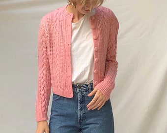 cable knit 60s cardigan / bubblegum pink wool sweater / button front hand knit cropped sweater | xs s