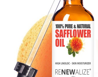 SAFFLOWER OIL Facial Moisturizer / Safe for Oily Skin / Cleansing Oil / Face Cleanser and Serum / Self Care / All Natural / Makeup Remover