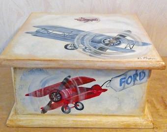Vintage Airplane Keepsake Box Custom Designed, kids room decor, personalized, furniture decor, art and decor