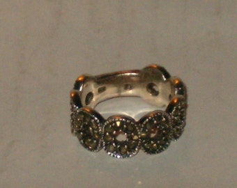 Vintage Women's Open Circle 925 Sterling Silver Marcasite Band Ring Size 6 3/4