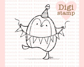 Celebration Penguin Digital Stamp for Card Making, Paper Crafts, Scrapbooking, Hand Embroidery, Invitations, Stickers, Cookie Decorating