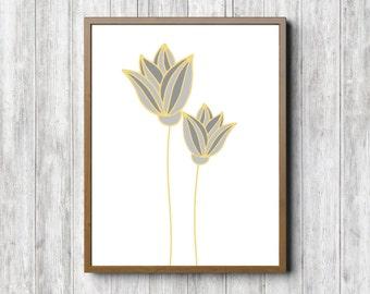 Yellow & Grey Flower Nursery /Girls Room Wall Art - Kitchen / Bathroom Art - Simple Wall Art - Printable Flower Poster - Digital Artwork