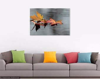 Fall Leaves on Canvas, Gallery Canvas, Fall Photography, Leaves Photography, Nature Photography, Home Decor, Red and Gold Decor