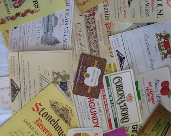 Vintage, unused, food and wine labels, 10 labels, not reproductions.