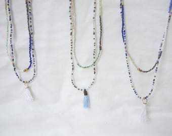 Seed Bead Tassel long Necklace