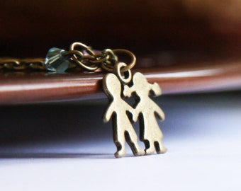 Boy and Girl Necklace Crystal Bronze Cut Out Silhouette Jewelry- Custom Crystal Beads- Hansel and Gretel - Boy & Girl Family Children Gift