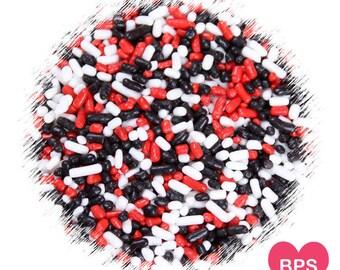 Ladybug Jimmies Sprinkles in Red, Black, White, Decorettes, Cupcake Sprinkles, Sugar Strands, Edible Sprinkles, Cookie Sprinkles