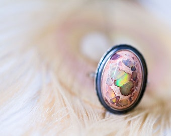 Mexican Fire Opal Ring, Boulder Opal Ring, Cantera Opal Ring - Collector Stone - Keeper of Secrets - Size 8.25, Size 8.5
