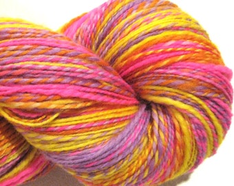 Handspun yarn Buddleia worsted weight 2 ply, 504 yards pink yellow purple orange hand dyed falkland wool knitting supplies crochet supplies