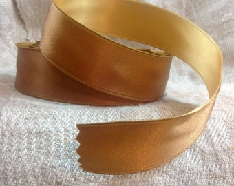 bronze and yellow gold satin wired ribbon