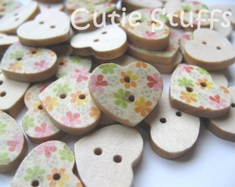 17mm Wood Buttons - Heart Shape Flowers - Set of 6