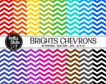 50% off SALE!! 16 Bright Chevron Digital Paper • Rainbow Digital Paper • Commercial Use • Instant Download • #CHEVRON-103-B