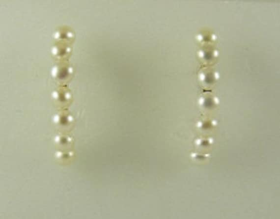 Freshwater White 3.6mm - 3.8mm Pearl Earring 14k Yellow Gold Post and Push Backs