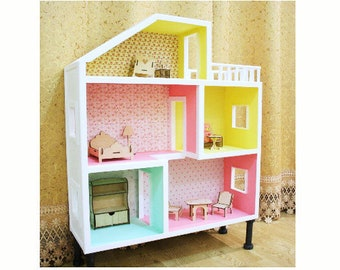 Lovely Big Wooden Dolls House With Furniture, Handmade Wooden Doll House, Nursery  Decor, Present