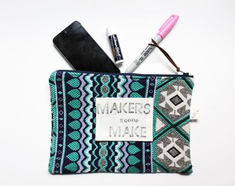 MAKERS GONNA MAKE zipper pouch funny gift for her gift exchange eco friendly sustainable zip pouch gift under 20 black pencil bag crafters
