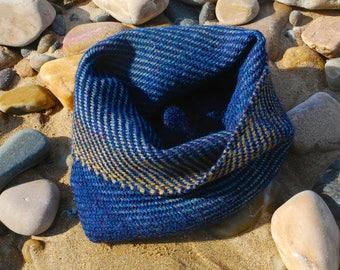 True blue small seascape snug handwoven in Alpaca and Shetland