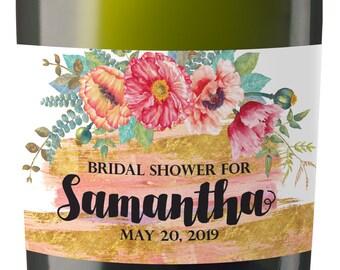 Mini Champagne Bottle Labels for Bridal Shower, Bridal Shower Mini Champagne Bottle Labels, Custom Champagne Label MN#59