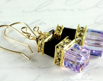 Swarovski Crystal Cube Earrings, Gold Filled, Violet and Mocca Swarovski Crystal Earrings