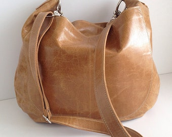 UMA Leather Hobo Bag - Purse - Slouchy Leather Crossbody Bag - Leather Handbag - Boho Bag - Womens Purse - Aged Rattan - More Colors