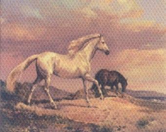 Dollhouse Miniature Horses on Canvas 1:12 Scale