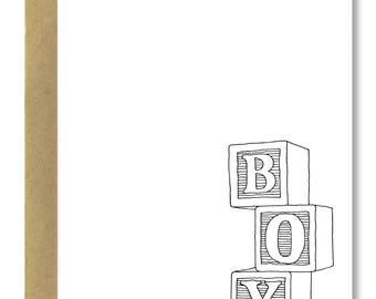 Baby Boy Blocks - A2 Card (Single or Set of 5)