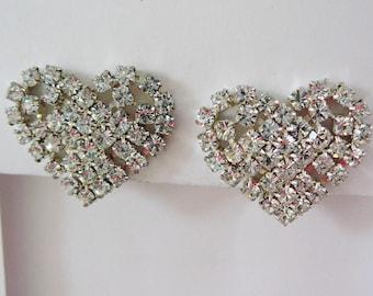 Vintage .. Heart Earrings, Silver tone, Rhinestone, Clipon Valentine