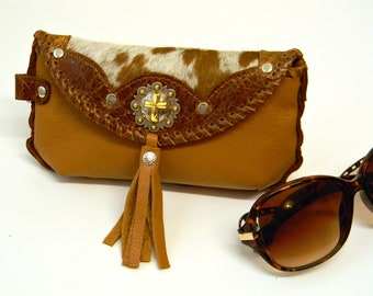 Brown Tan Leather Sunglasses Case Christian Cowgirl Glasses Pouch Modern Western Riveted Eyewear Holder with Concho Hair On Cowhide Case