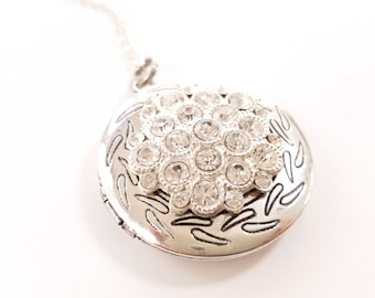 SALE - Antique Silver and Rhinestone Locket - Heirloom Locket - Bridesmaid Locket - Vintage Silver Locket - Keepsake Locket - Wedding locket
