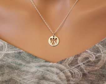 Sterling Silver Angel Necklace, Silver Angel Cut Out Necklace, Angel Charm Necklace, Angel Necklace, Guardian Angel Necklace, Angel Charm