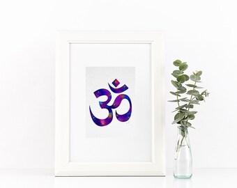 Yoga Print, Om watercolor decor, Yoga art, om print, Aum Buddhism, purple om print, yoga studio decor, yoga prints, zen art, om art