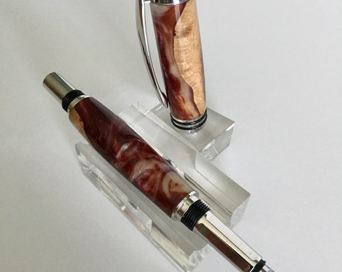 Tycoon Rhodium Fountain Pen with custom Hand-Turned Fiji and Burgundy Body