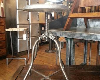 Vintage industrial adjustable medical stool