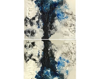 Rorschach Ink Blot Acrylic Painting with White Background on Canvas No. 2