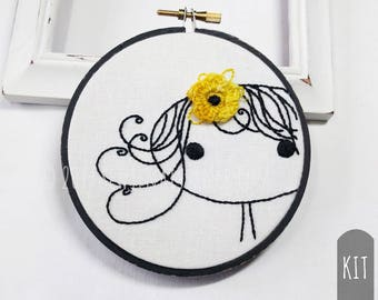 Hand Embroidery Kit | Clementine Flower Girl Beginner Embroidery