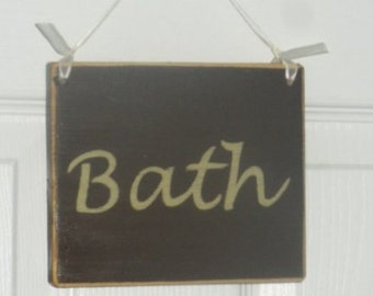 6x6 Bath (Choose Color) Shabby Chic Restroom Welcome Wood Sign Custom Plaque